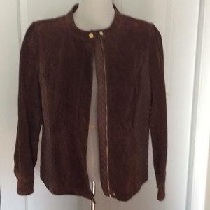 Isaac Mizrahi Suede & Lambskin Leather Jacket
